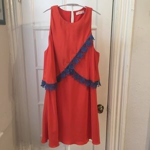 Tory Burch orange dress 12 AS IS